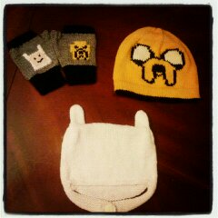 Adventure Time fingerless gloves, Finn knit hat, Jake knit hat
