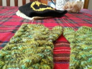 This is an order for my dear childhood friend Cheryl. She ordered some fingerless gloves for her daughter, a cute slouchy Zig Zag hat, and a Batman beanie for her son. They are super fun!