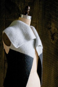 A wonderfully fun worsted weight vest knit sideways with 2 contrasting colors.