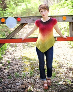 Ahhhh...gradient yarns. Who doesn't love the evolution that has happening in gradient yarns?  This light, assymetrical summer top will be a a blast to knit watching the colors change as you work, pushing you further and further along.